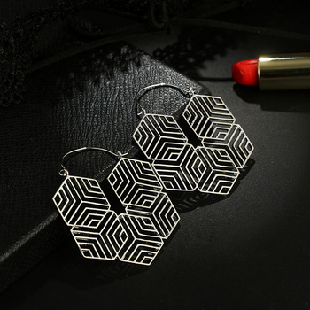 Tribal Hex Kolye Küpe Kadın Retro Metal Küpe Küpe Bohemian Hollow Geometrik Pendiments Dropshipping